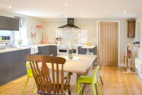 Open plan kitchen dining room.