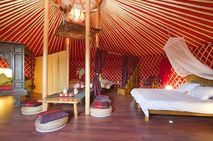 Inside the Eco Luxury Yurt Suite