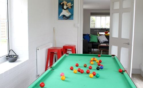 Playroom with table tennis / snooker table tops