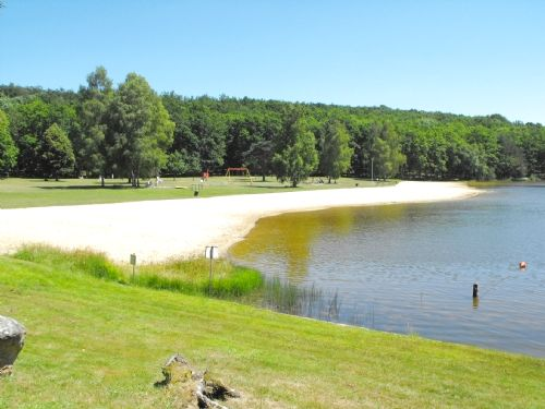 One of our nearby swimming lakes and sandy beach