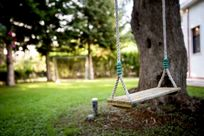 Garden with swing and football goal