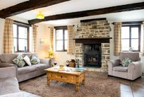 Lounge with woodburner, warm and cosy - perfect for those autumn/winter breaks!