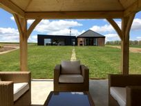 View of the barn from the outdoor lounge