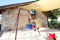 Sandpit and baby swing
