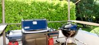 Weber gas BBQ and Weber charcoal BBQ with all the tools, plus views over the garden.