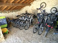 The bikes for cycling the quiet lanes 'en famille' to the village