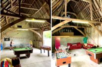 Grade II listed games room with pool table, table football, table tennis and a seating area