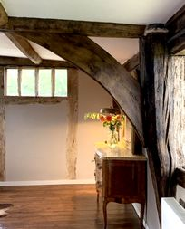 Beautiful old beams in the master bedroom