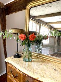 Vintage mirror in the master bedroom
