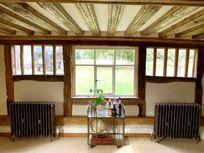 Ancient beams adorn the lounge