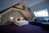 attic bedroom with sofabed