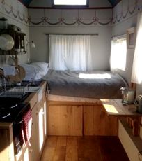 Shepherds hut bedroom