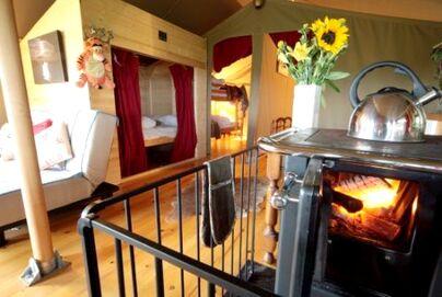 Family Friendly Holidays at Tapnell Farm - Safari Tent 5 with log burning tub