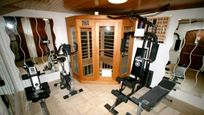 Gym with Infra red sauna, rower, exercise bike, weights machine, abs bench