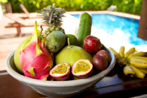 Delicious tropical fruit served with all meals