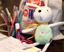 Kids pack for every child - backpack, bunny, pens, glue & sketchbook