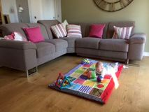 Open plan dining, kitchen, living area with double sofa bed and our baby! :)