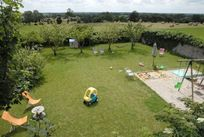 The walled play area and view to the meadow