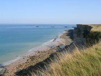The beach at Longues-sur-Mer 700m away