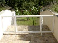 Gated walkway to pool
