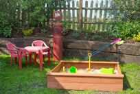 Sandpit and toys to keep little one's busy
