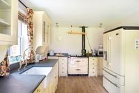 Country style kitchen with family area