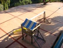 Large terrace with play area and lots of toys