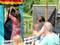 Theatre time - put on a show, raid the play chalet for outdoor toys and 'dress-up' outfits or visit the mini pretend 'shop' and 'restaurant' in the play chalet.