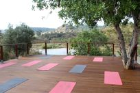 Spacious waterfront deck for sunrise yoga