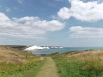 Iconic view of Seven Sisters white cliffs a fabulous short walk from Lamb's Knees