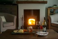Cheese, wine and warming fire