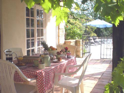 Leisurely breakfast overlooking the pool.