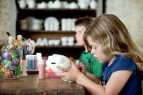 Pottery painting in our 'Atelier'