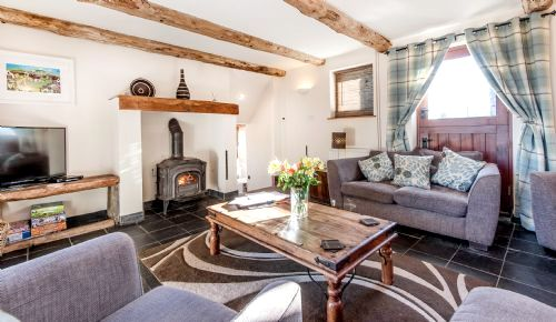 Glyndwr sitting room with log burner