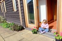 Enjoying the sunshine in the enclosed garden