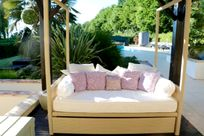 John Lewis Siesta bed on the Green terrace for complete relaxation