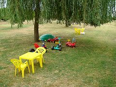 Plenty of outdoor and indoor toys to keep our young guests busy