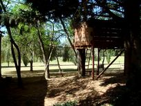 The tree house, swing and ropeladder, a great hit with our young guests