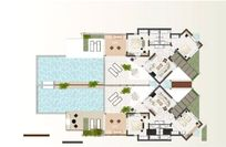 Floorplan shows 2 x adjoining 2-bed luxury residences