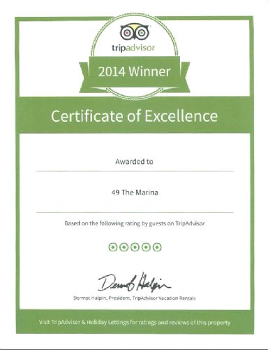 Proud to have a Tripadvisor Certificate of Excellence 2014
