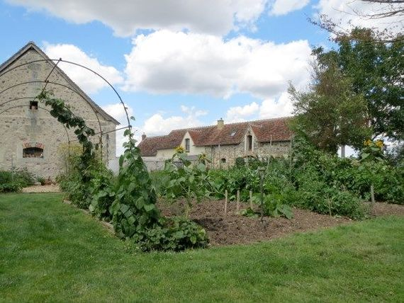 View of the courtyard from the vegetable garden & the hen run