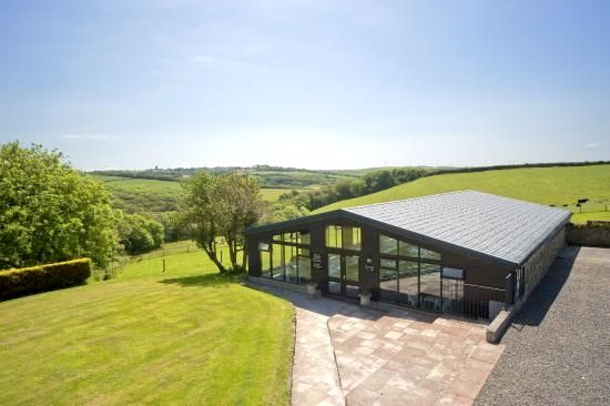 Outside view of swimming pool with stunning views of the countryside