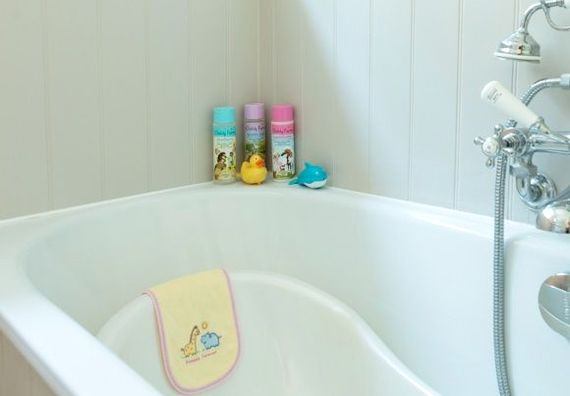 Bathtime for babies, with bubbles shampoo and conditioner provided
