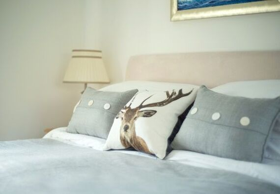 Master bedroom with luxury bedding