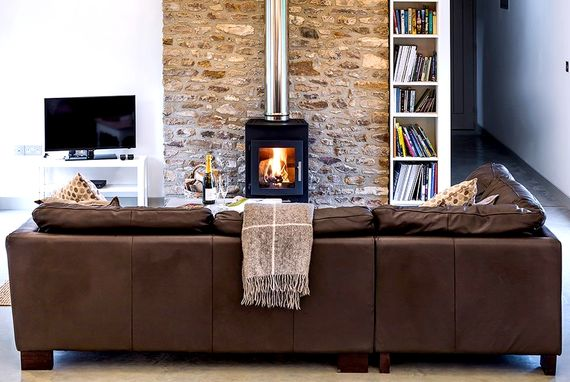 Lounge with contemporary log burner
