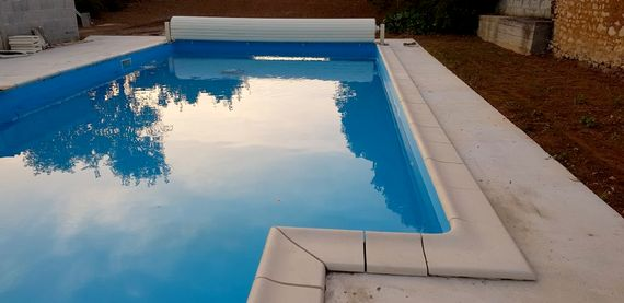 The new pool is 1.25m deep, with pool cover and all round fencing for safety.  Landscaping includes a lawn at either end