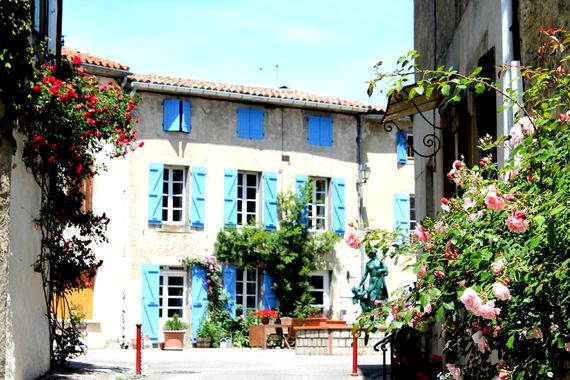 Chez Maison Bleue, beautifully restored  3 bedroom holiday cottage on the village square south of Carcassonne