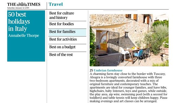 Times newspaper 2019 Best for families