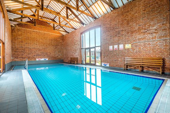 Luxury indoor heated pool at Cranmer Country Cottages