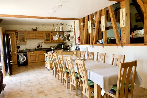 Huge kitchen and dining area with seating for 12